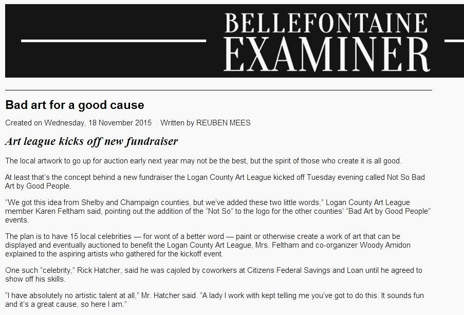 Bellefontaine Examiner: Bad Art for a Good Cause